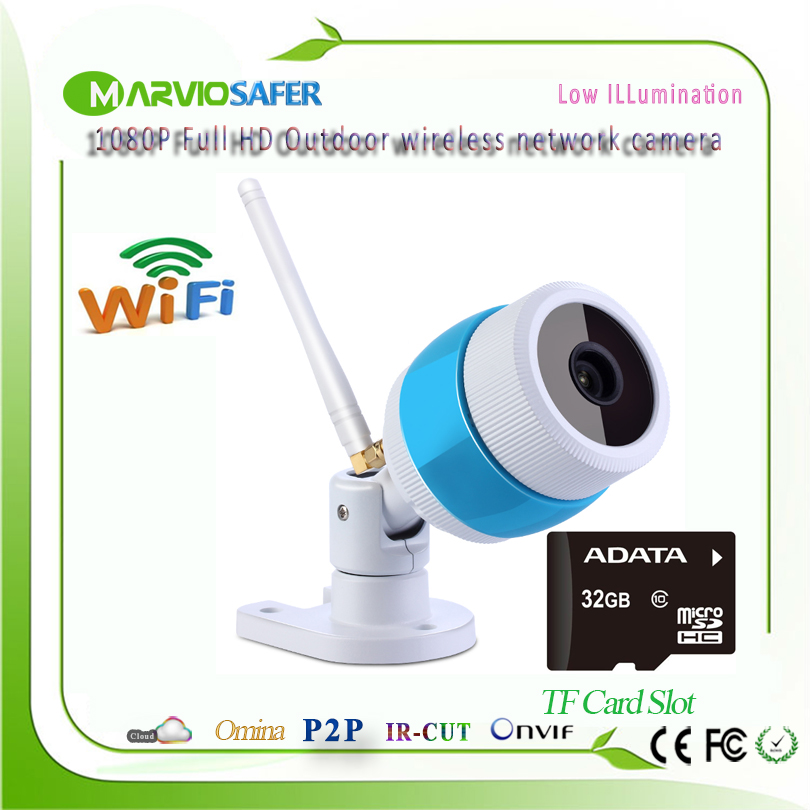 1080P 2MP Full HD wi-fi Outdoor Bullet Network Wireless IP Camera wifi Camara IPCam Onvif Built-in TF Card Slot Waterproof<br>