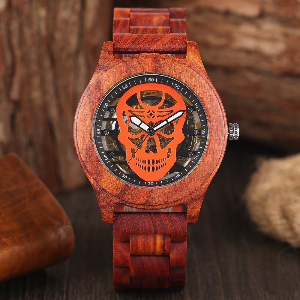 Mens Luxury Red Skull Ebony Wrist Watch Automatic Mechanical Bamboo Wooden Skeleton Written Watches Cool Sport Men Males Relogio<br>