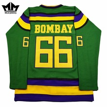 MM MASMIG Mighty Ducks #66 Gordon Bombay Movie Hockey Jersey Green For Free Shipping S M L XL XXL XXXL(China)