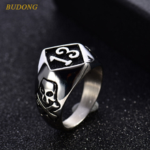 BUDONG Top Fashion Ring for Men Silver Number 13 Skeleton Skull Head Stainless Steel Full Finger Large Punk Band Jewelry BR110