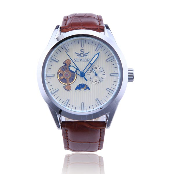 SEWOR Brand Skeleton Luxury Leather Strap Automatic Mechanical Analog Men Watch Fashion Wristwatch 2017 New Free Ship<br><br>Aliexpress