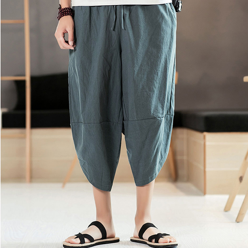 2018 Summer New Men's Loose Calf-Length Harem Pants Casual Lightweight Large Size Solid Color Pencil Trousers Chinese Style