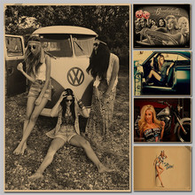 VW classic car/retro/Kraft/bars cafes decorated with an attractive woman classic poster vintage retro paper craft p022