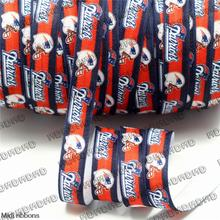 "MD150917-25-2157 Rugby Sports Series 5/8"" 16mm 50 Yards Football Patriot Printed Elastic Ribbon Sport Clothing Supplies DIY"