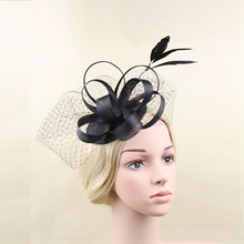 Black Feather Fascinator Hat Veil Hair Clip Bridal Headpiece Wedding Hats And Fascinators Ladies Chapeu Cabelo Hair Accessories(China)