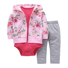 2017 Hot sale baby clothing 3 pieces  coat+bodysuit+pant set baby boy girls Fleece suit bebes meninos spring autumn kids clothes