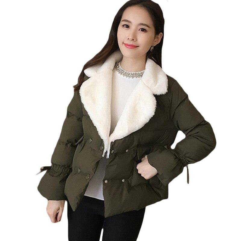 Women White Notched Lapel Double Breasted Short Winter Jacket Coat Outwear Womens Cotton Casual Warm Overcoat Army Green XH468Îäåæäà è àêñåññóàðû<br><br>