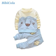 BibiCola spring autumn children clothing set baby boys sports suit cartoon print casual costume kids girls tracksuit sportswear(China)
