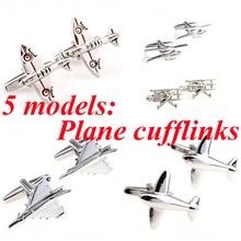 5 Designs Plane Cufflink Military Helicopter Warcraft Warplane Fighter Cuff Link Free Shipping(China)