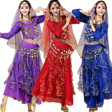 Tops+Skirt+Waist Chain Female Indian Party Dance DS Club Clothing Costumes Belly Dance Costume Dress Women Bellywood dance dress(China)
