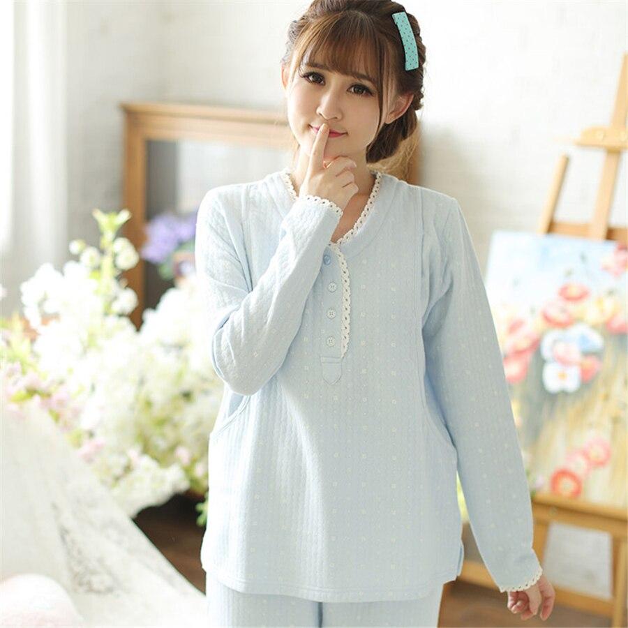 Cotton Maternity Sleepwear Nursing For Pregnant Women Shirt Feeding Suit Warm Casual  Clothes Pregnant Winter 70M0156<br>