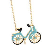 Blue Enamel Bicycle Pendant Necklace Gold Color Sweater Chain Long Necklace Women Jewelry