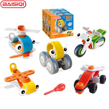 BAISIQI 2017 New Design Flexible Building blocks Soft Assembly tool toy for boy Kids DIY Montessori Learning Educational toys(China)