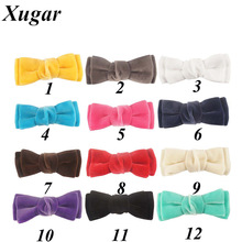 2 Pcs/Lot 3.5'' Handmade Solid Velvet Hair Bow For Girls Kids Boutique Bows Hairpins Cute Velvet Hair Accessories