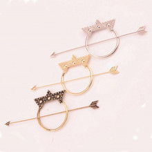 1 PCS Punk Hot Sales Bronze / Silver / Gold Color Alloy Fashion Hairpins Star Arrows Hairpin Hair Stick for women girls(China)