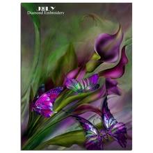 Diamond калла цветок вышивки картины стразами картины фиолетовый зеленый и таинственный мозаика ремесла крест рукоделие(China)