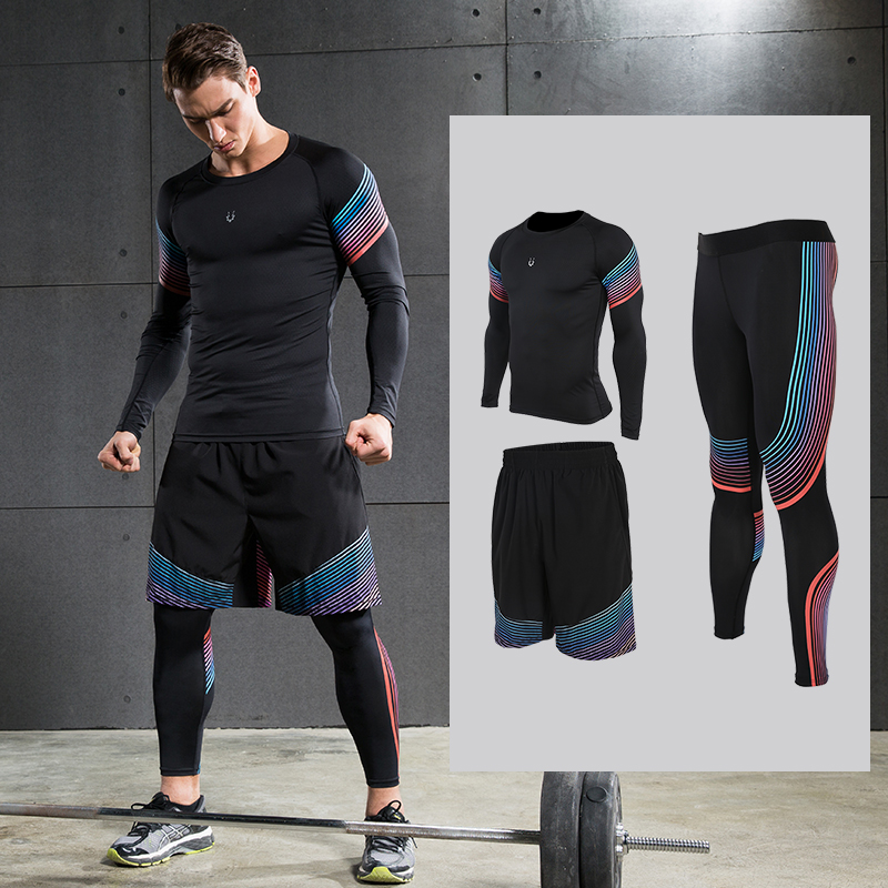 Mens Running Sets Sportswear Compression Leggings  Pants Shirts with Shorts for Running Joggers Gym Fitness Ball games <br>