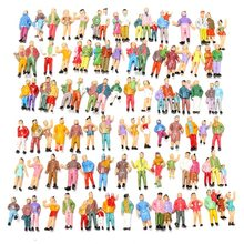 KiWarm New 100pcs Scale 1:87 Mixed Painted Model Trains People Passengers Figurines Miniatures for Micro Garden DIY Decor Craft