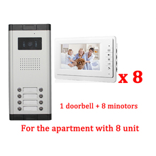 "7"" LCD Apartment Wired Video Door Phone Audio Visual Intercom Entry System 1 HD Outdoor Camera With 8 monitor"
