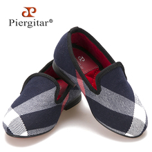 Piergitar same Men loafers design Children Flats shoes Red cotton comfortably insole Parental Shoes Party child slipper loafers