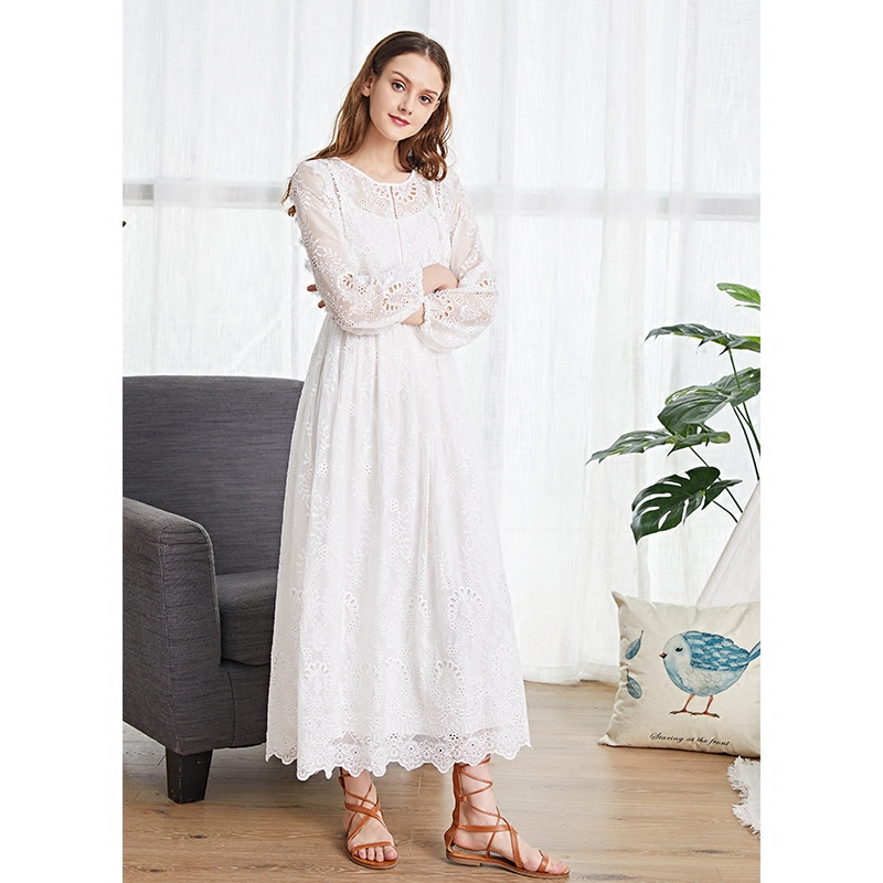 LYNETTE'S CHINOISERIE Spring Autumn Women Loose High Waist Ruffle White Lace Embroidery Dresses