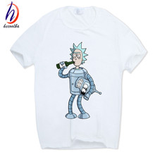 Hecoolba 2017 Men's Rick and Morty Funny Anime T-shirt Casual Short sleeve O-Neck homme Summer White T shirt Swag Tshirt HCP134(China)