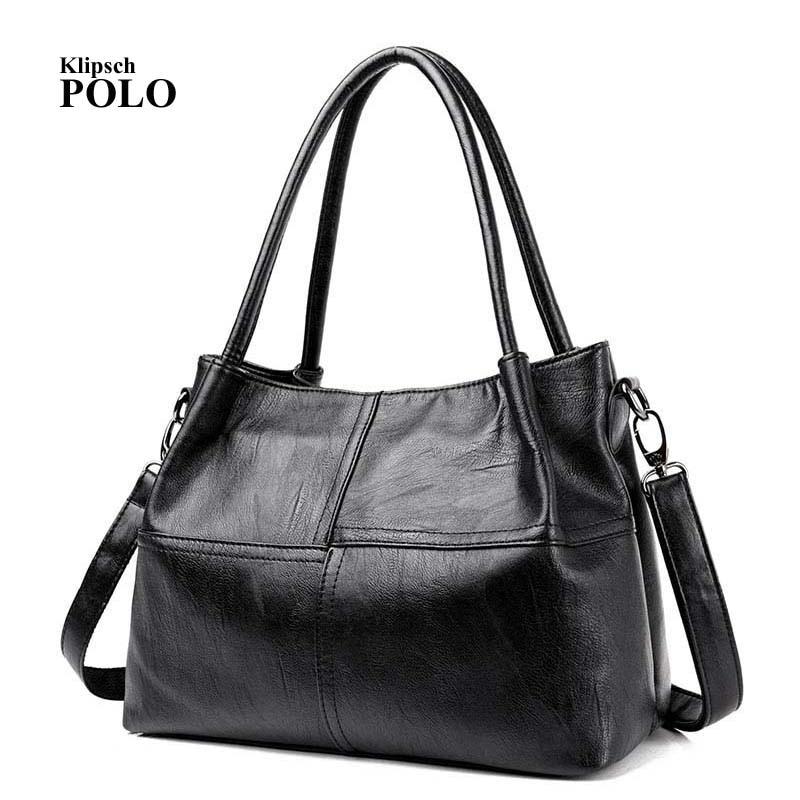 Fashion Ladies Hand Bag Womens Genuine Leather Handbag Black Leather Tote Bag Bolsas femininas Female Shoulder Bag<br>