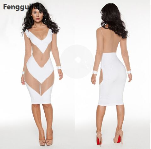 White Bodycon Dress Party Gauze Dress New Sexy Mesh Lace Long Sleeve See Dress Sexy Night Club Wear Deep V Neck