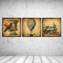 "New 2016 Oil Painting Canvas about ""Hot air balloon and train""home decor Pictures Decorative Painting Wall Art 3pieces RM-JED062"