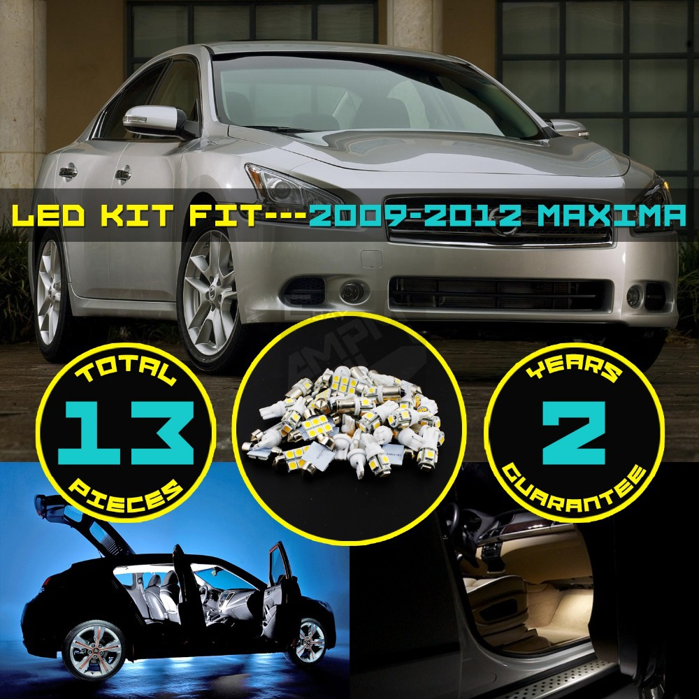 Car-Styling Free Shipping!! #19 13x White LED Canbus Error Free Lamp Lights Interior Package Kit For Nissan Maxima 2009-2012<br><br>Aliexpress