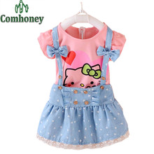 Girls Dress Hello Kitty Dresses for Girls Short Sleeve Infant Baby Dress with Bow Dot Fake Denim Kids Clothes Children Clothing