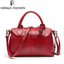Herald Fashion Solid Women Pillow Handbag Soft PU Leather Women Top-Handle Bag Tote Shoulder Bag Large Capacity(China)