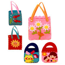 Kids DIY Handmade Handbags Cloth Children Handwork Cloth Crafts DIY Sewing Bag Cartoon Toys Creative Gifts Random Pattern
