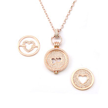 2017 Lovely My Coin Jewelry with 1 Set Double Heart Crystal Coin Pendant and 2pcs Heart Coin Disc to Replace as Women Gift