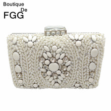 Women Party Handmade White Pearl Clutch Bag Bridal Wedding Beaded Hand bags Metal Clutches Hard Case Crystal Beading Evening Bag(China)