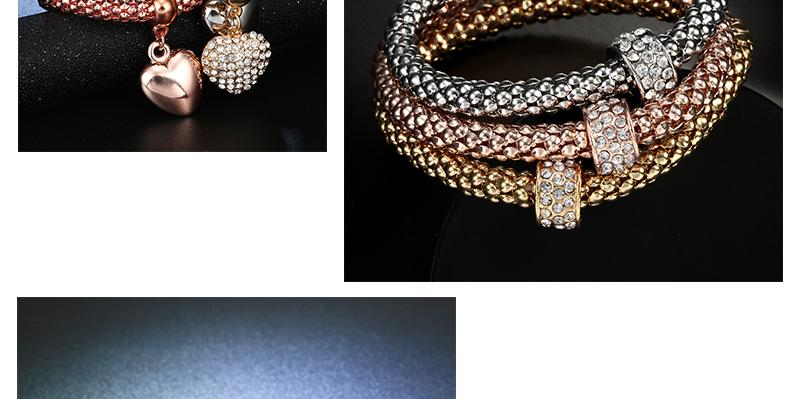 CWEEL Bracelets for Women Charms Heart Pendant Imitation Crystal Metal Bracelet Jewellery Rose Gold Silver Color Bead Bracelet (3)