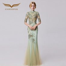 Coniefox 31283 Slim Appliques Mermaid prom dresses Embroidered de festa Long Evening Gown Dress robe de soiree 2016 autumn(China)