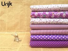 Urijk 7PCs/set 25*25cm Purple DIY Patchwork Fabrics Sewing Cloth Quilting Cotton Fabric Needlework Tissue Doll Bedding Textile