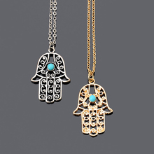 Tomtosh 2016 New Vintage Brand Design Gold Luck Hamsa Hand Pendants Necklace Luck Fatima Hand Palm Statement Necklace