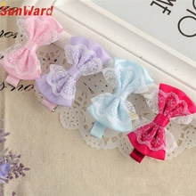 Girl's Hair Clips SUNWARD delicate 2017 girl hair accessories Cute Lace Bowknot Girl Hairpin Child Hair Accessories W80 @
