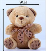18pcs/lot Promotion gifts 10CM brown teddy bear mini bow tie sitting teddy bear plush keychain bouquet toy/phone pendant