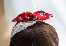 Vintage Head Hair Scarf Red Black Poppy Floral 50s Pin up Headband Land Girl Goth Retro