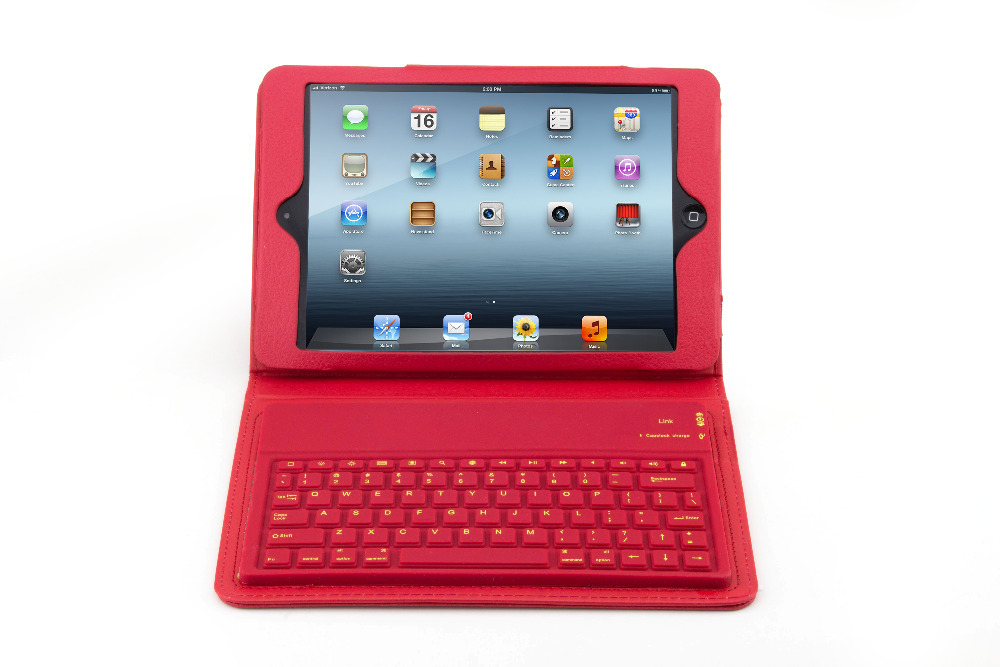 High Quality Universal Silicon PU Leather Wireless Bluetooth 3.0 Keyboard Leather Case for iPad mini free shipping<br><br>Aliexpress