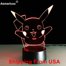 Shipping From USA Warehouse Pokemon Go Touch Night Lights Eevee Charmander Pikachu Action Figures Toys Squirtle Bulbasaur Dragon