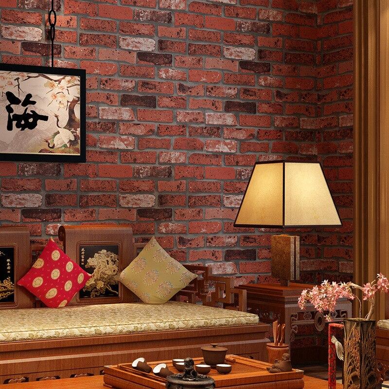 Beibehang PVC retro brick wall hotel hotel factory decoration blue brick red brick wallpaper living room bedroom 3d wallpaper <br>