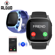 ALANGDUO T8 Smart Watch With Camera Music Player Facebook Whatsapp Sync SMS Bluetooth Smartwatch Support SIM TF Card For Android(China)
