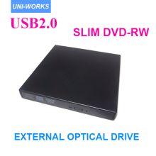 Top quality SATA chip USB 2.0 black Portable External Slim DVD-RW/CD-RW Burner Record Optical Drive  CD DVD Combo Writer