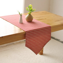 Mezo Element Plaid Table Runners Linen Runner Rectangle Pink And Coffee Color Zakka Style Table Decoration Accessories Home