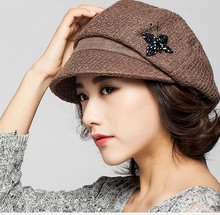 Winter and autumn Fashion peaked cap knitting hat for women warm beret Patchwork for woman