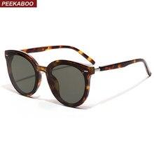 4ea3b598f6 Peekaboo korean style sunglasses men big frames leopard red rivet unisex  round sun glasses for women 2019 uv400 summer